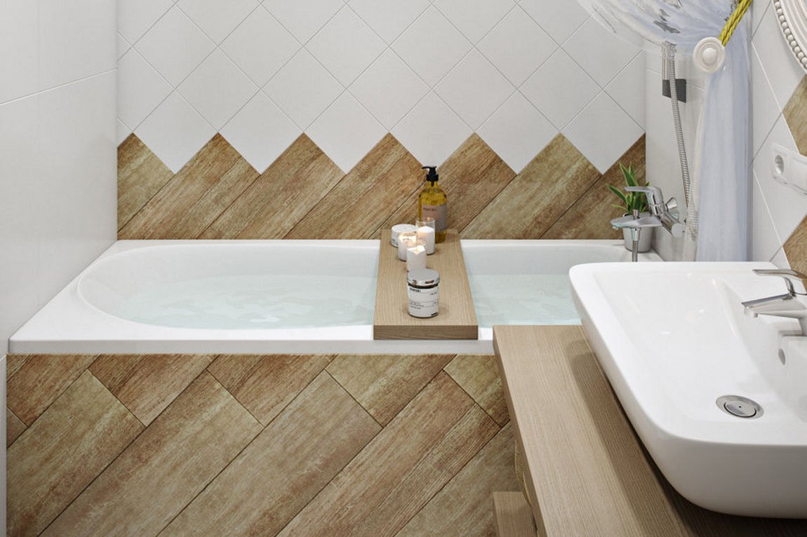 Fahatású és négyzet alakú fehér csempe fürdőszobában - diagonál burkolás, átlósan - tipp