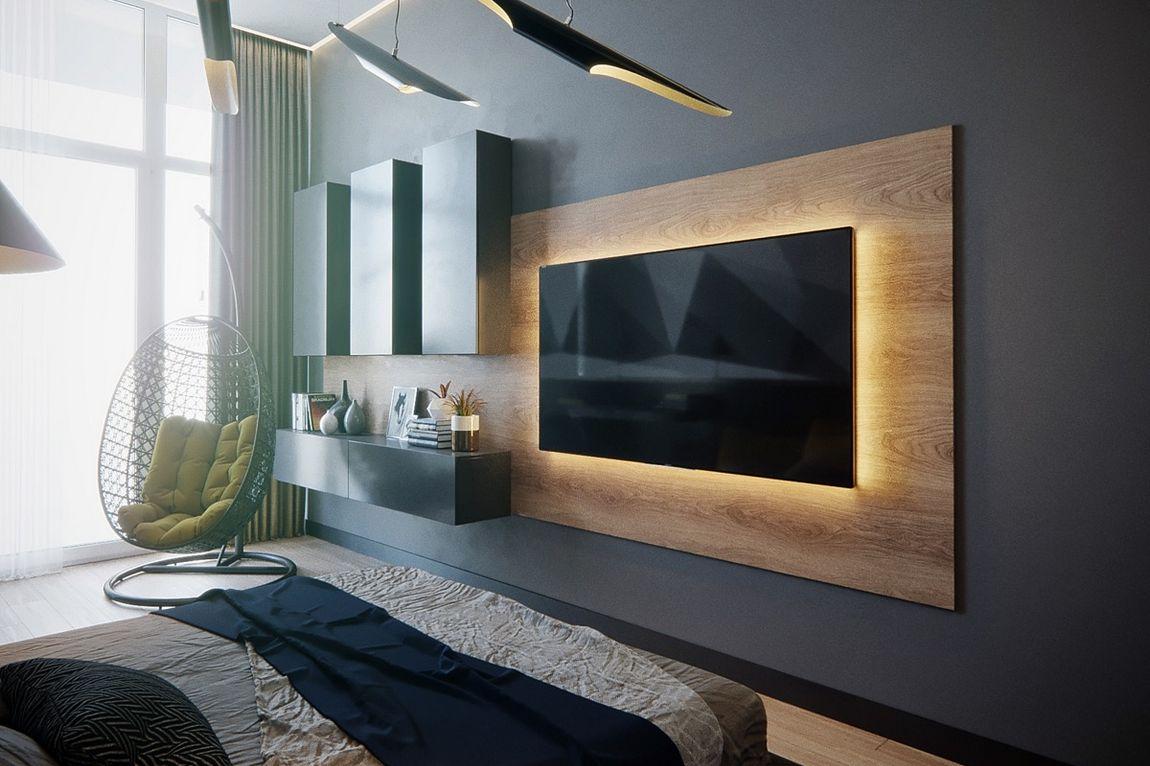 Modern TV fal kialakítása fa panelek segítségével