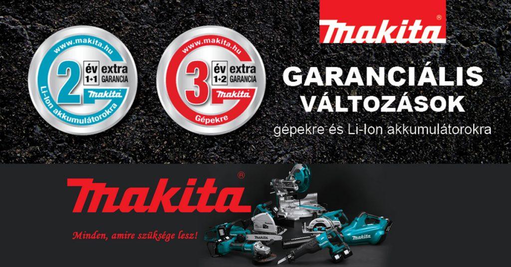 2 év extra garancia a MAKITA LI-ON akkumulátorokra