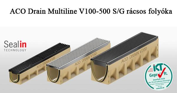 ACO Drain Multiline V100-500 S/G rácsos folyókák közép és nehéz terhelésre