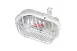 Műanyagrácsos ovális hajólámpa E27 max 60W IP44 230V~ fehér